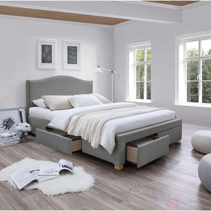 łóżko Celine Signal 4 Szuflady Szare Tapicerowane