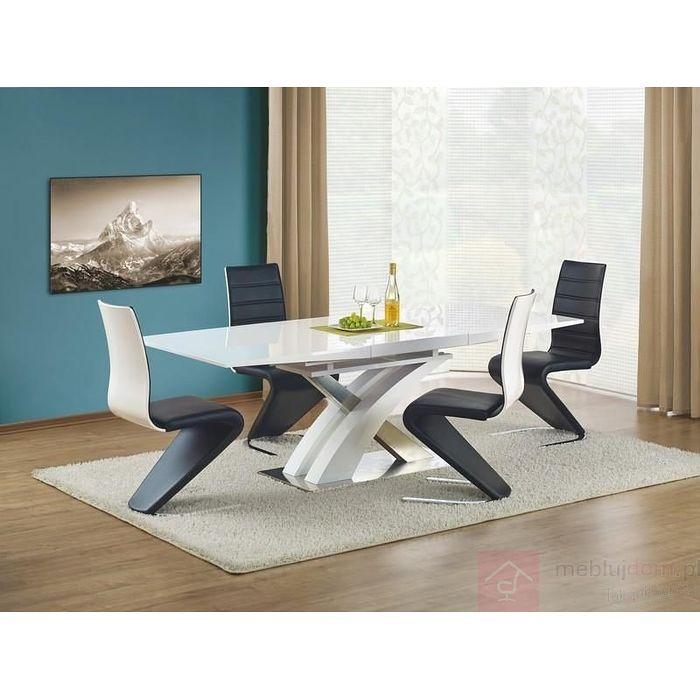 Stół Sandor biały lakierowany rozłożony