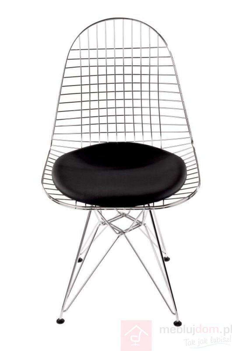 Krzesło NET frontem czarna poduszka