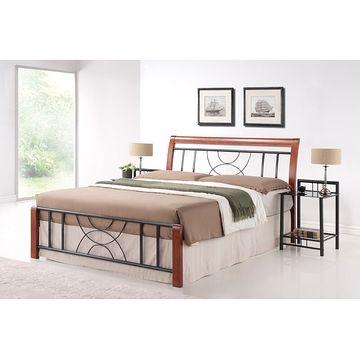 Łóżko CORTINA Signal Czereśnia antyczna + czarny, 180x200 cm