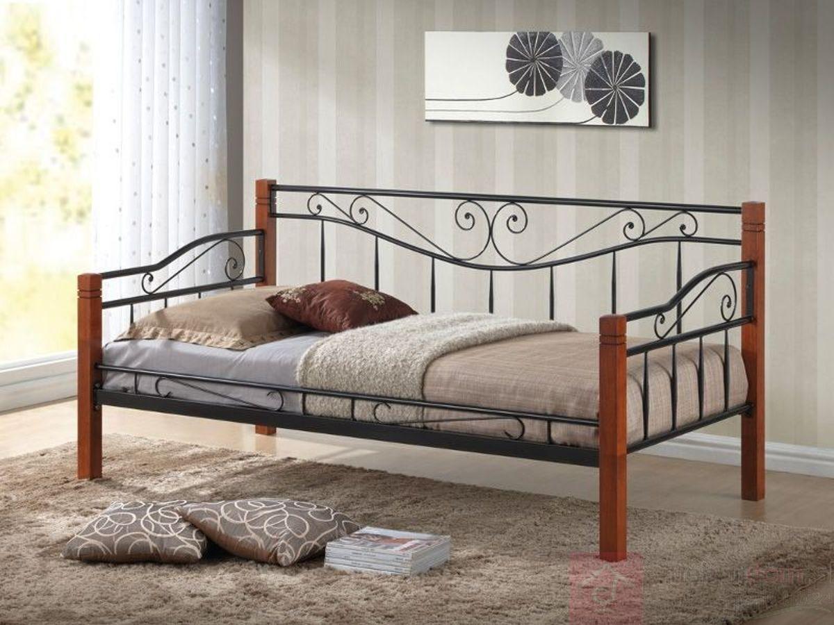 Łóżko KENIA Signal Czereśnia antyczna + czarny, 90x200 cm