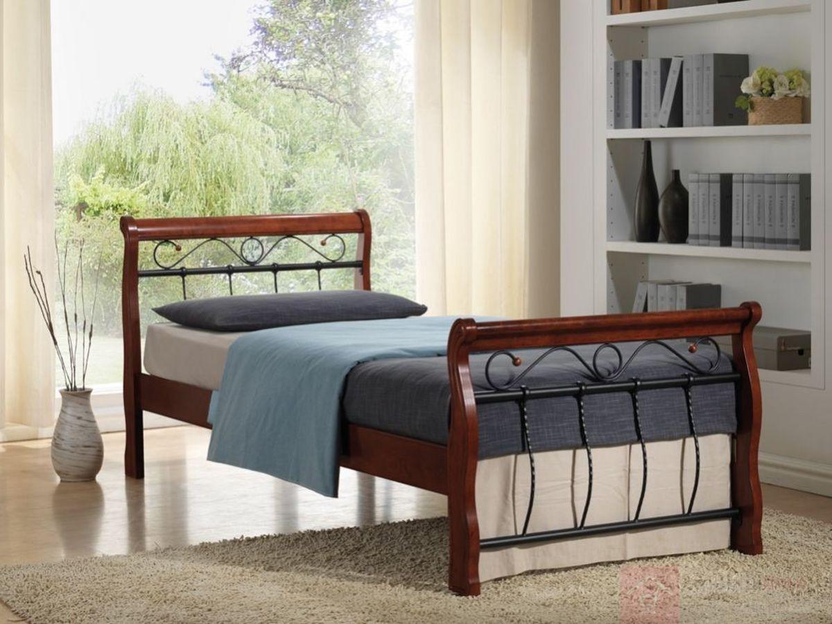 Łóżko VENECJA BIS Signal Czereśnia antyczna + czarny, 90x200 cm
