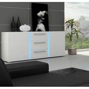 Komoda KASSEL Z oświetleniem LED, Biały mat + biały połysk