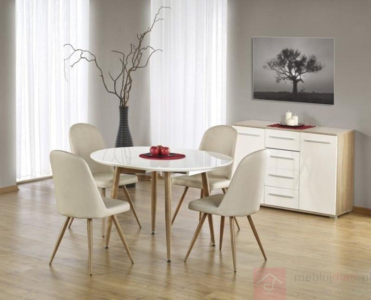 Stół EDWARD Halmar (Biały + dąb miodowy)