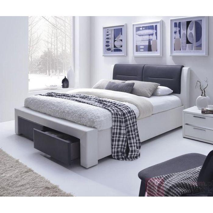 Łóżko CASSANDRA S Halmar biało-czarne