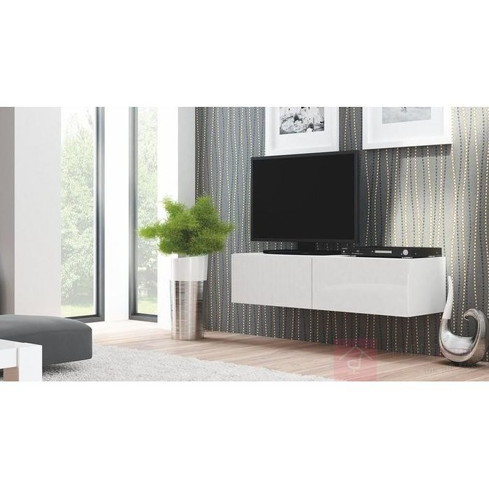Szafka RTV LIVO RTV-160W Halmar biały połysk + biały mat