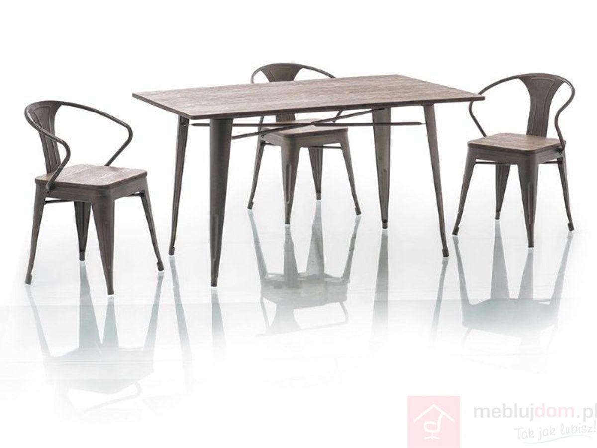 Stół ALMIR Signal Orzech ciemny + grafit, 84x140 cm