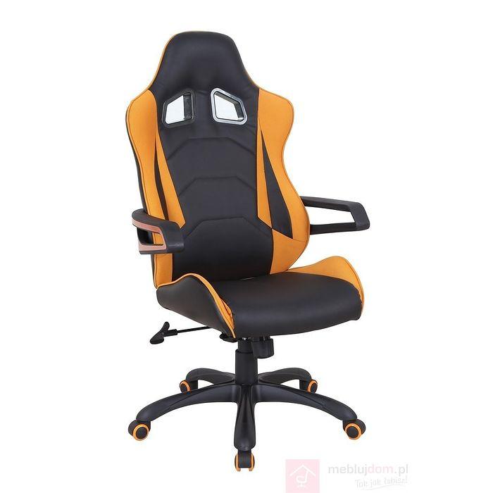 Fotel obrotowy MUSTANG Halmar Czarno-pomarańczowy