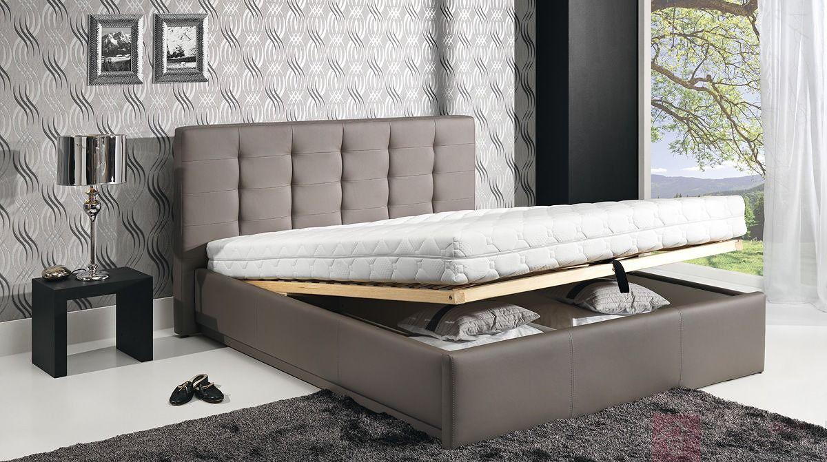 Łóżko tapicerowane AVALON z otwartym pojemnikiem na pościel (Eko skay Tiguan 105)