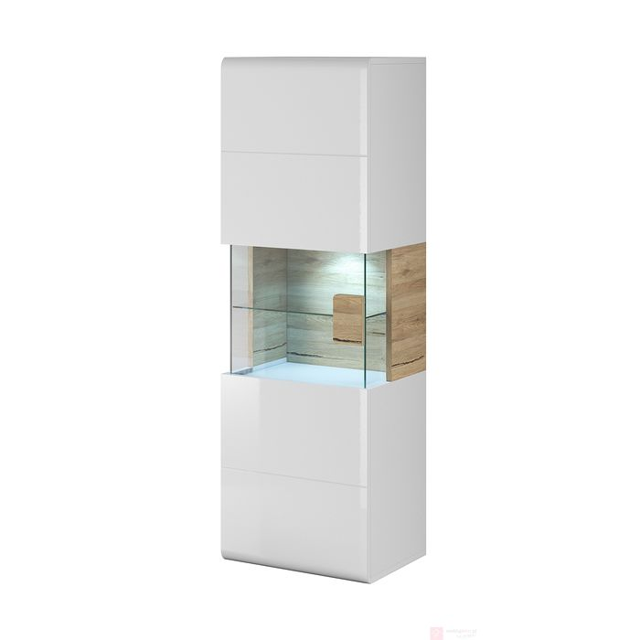Witryna TOLEDO 07 (Biały + biały połysk + dąb san remo)
