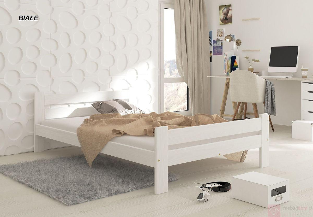 Łóżko drewniane MONI MAXI (Białe)