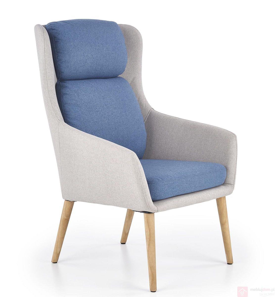 Fotel PURIO Halmar (Jasny popiel + niebieski)