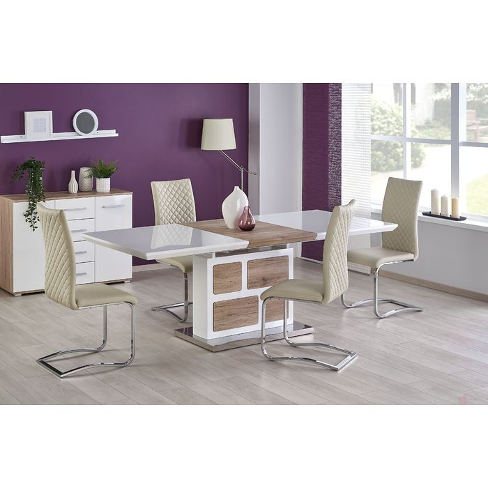 Stół DOMUS Halmar (Biały + dąb sanremo)