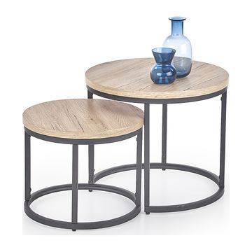 Zestaw stolików OREO Halmar (Dąb sanremo + czarny)