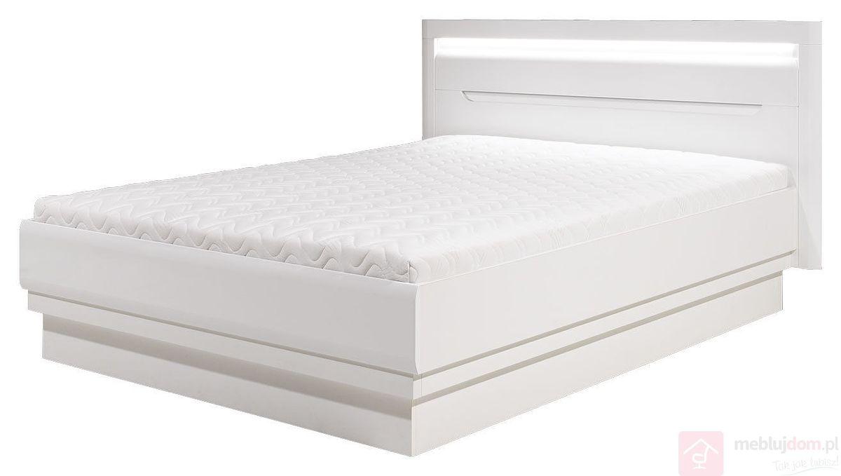 Łóżko IRMA IM-16 z pojemnikiem na pościel (Biały + biały połysk + wstawka biała)
