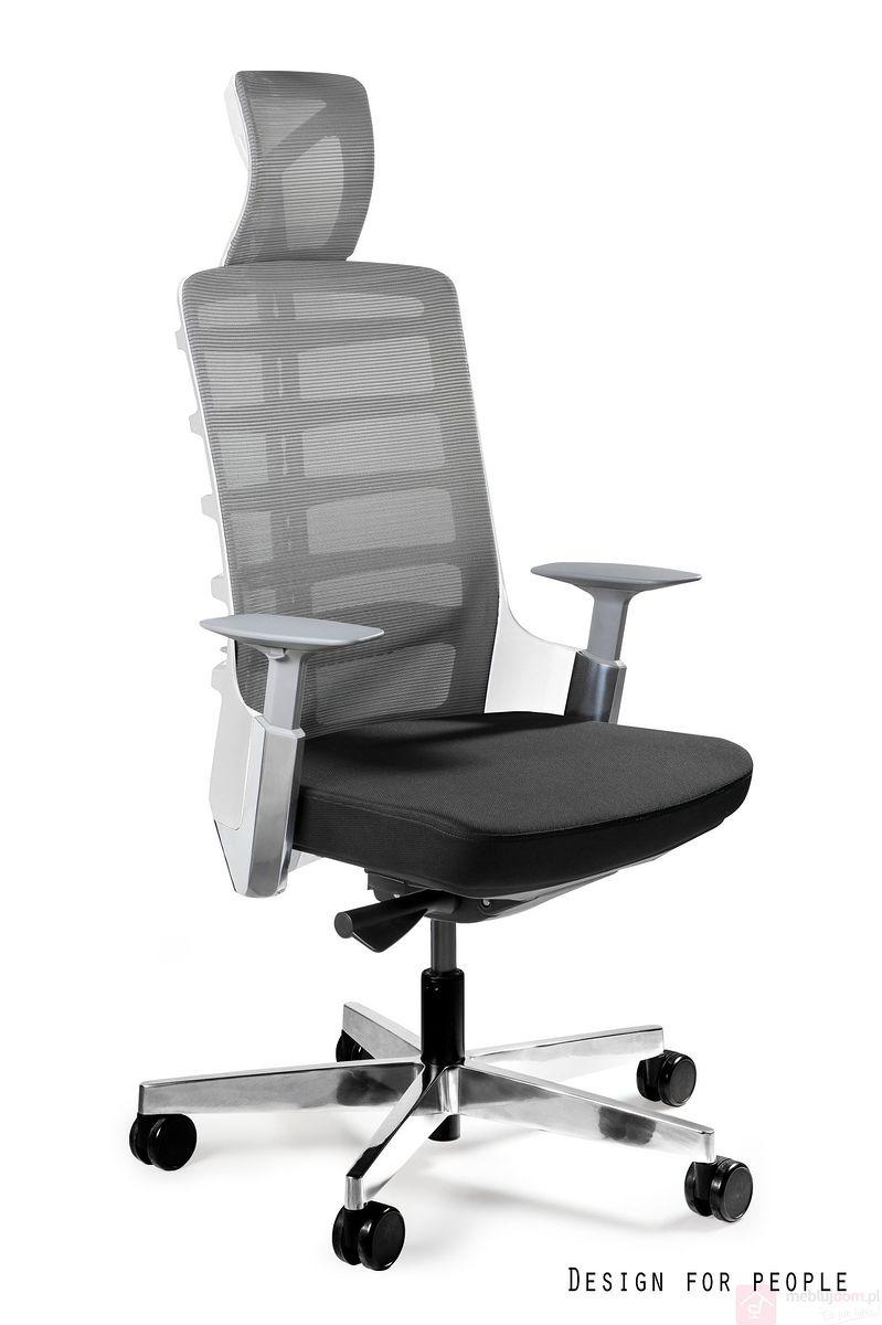 Fotel SPINELLY Unique z zagłówkiem biały korpus