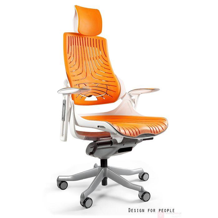 Fotel obrotowy WAU Elastometr biało-pomarańczowy Mango