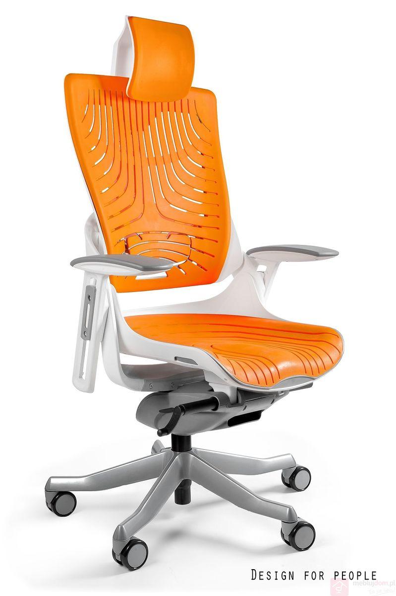 Fotel WAU 2 Elastomer Biało-pomarańczowy