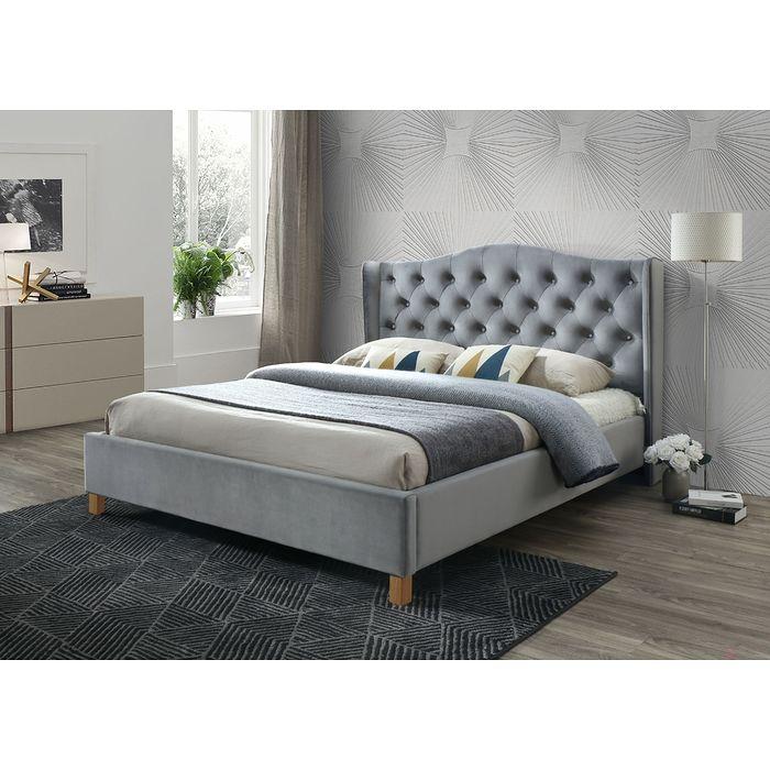 Łóżko ASPEN VELVET 160 Signal szary aksamit