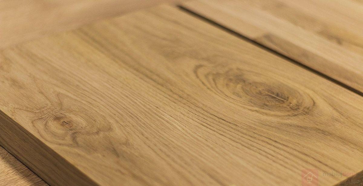 Blat jednolity drewniany, obłogowy, olejowany w stole industrialnym