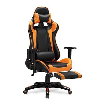 Fotel gamingowy DEFENDER 2 Halmar z podnóżkiem pomarańczowo czarny