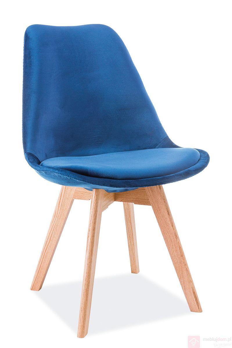 Krzesło DIOR dąb Velvet Signal granatowy