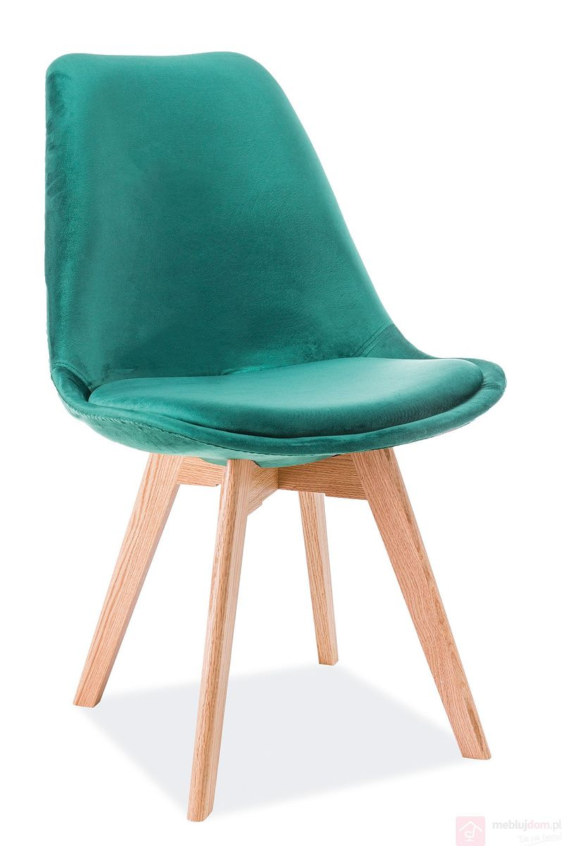 Krzesło DIOR dąb Velvet Signal zielony
