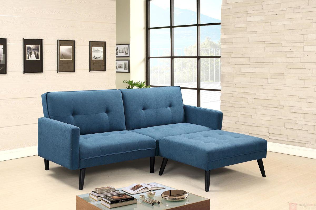 Sofa rozkładana CORNER Halmar niebieski aranżacja