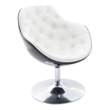 Fotel obrotowy PEZZO Pikowany czarno-biały front