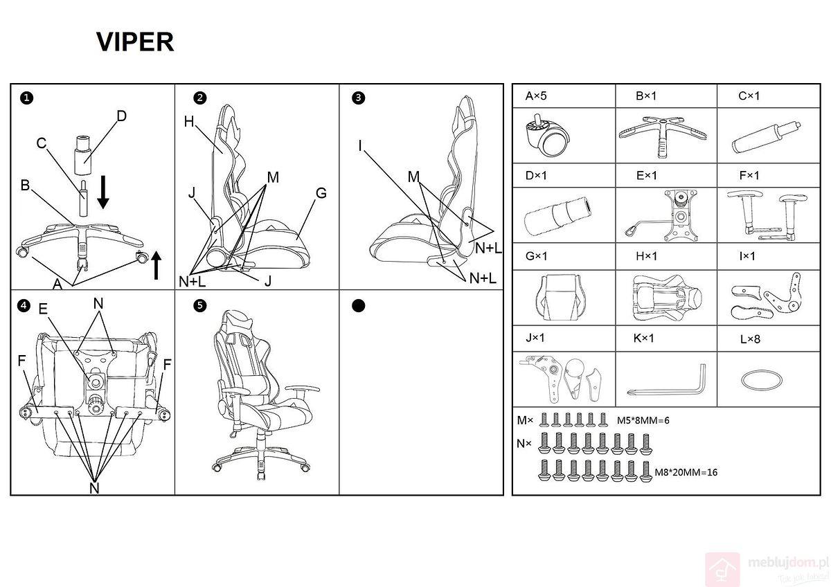 Krzesło gamingowe VIPER Signal instrukcja montażu