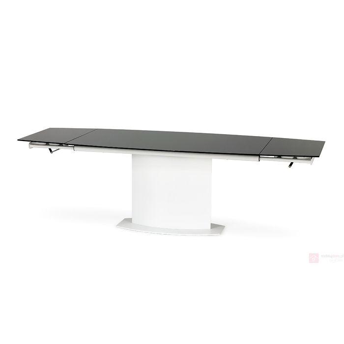 Stół ANDERSON Halmar czarne szkło na blacie rozłożony