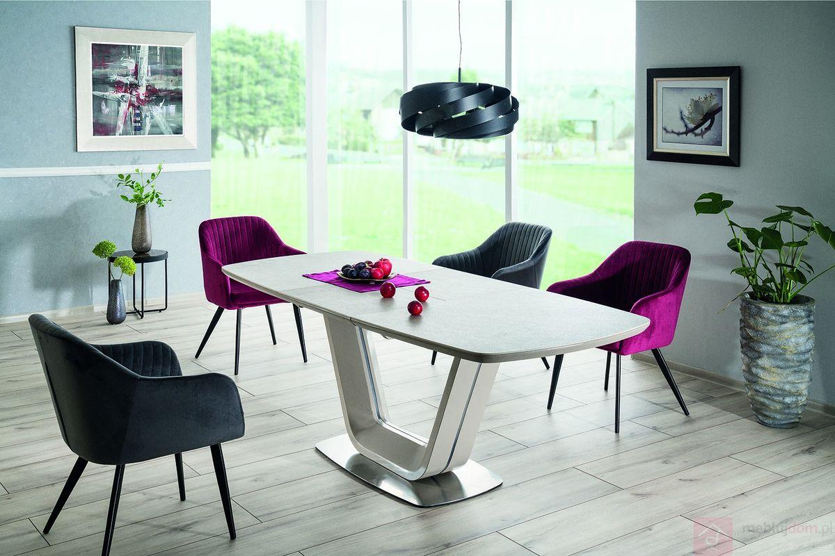 Stół ARMANI CERAMIC Signal aranżacja z krzesłami Elina Velvet