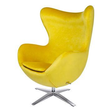 Fotel EGG SZEROKI VELVET żółty przodem