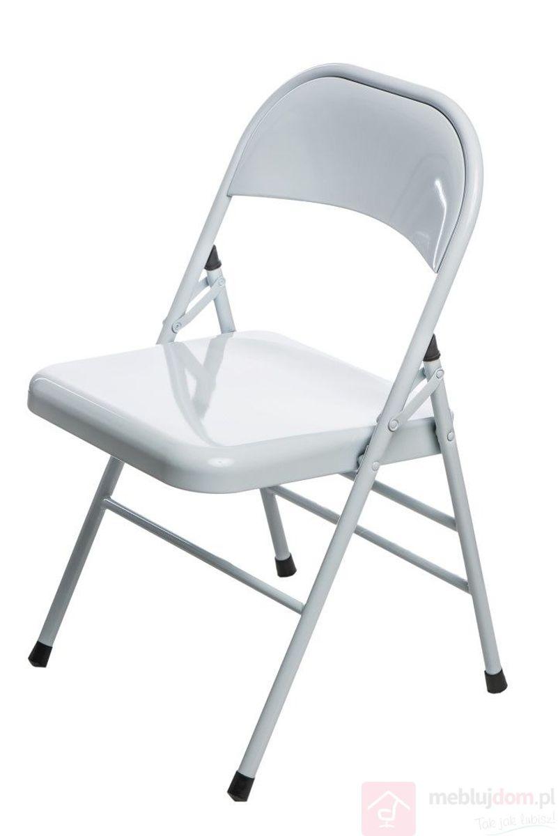 Krzesło metalowe COTIS białe ustawione lekko przodem