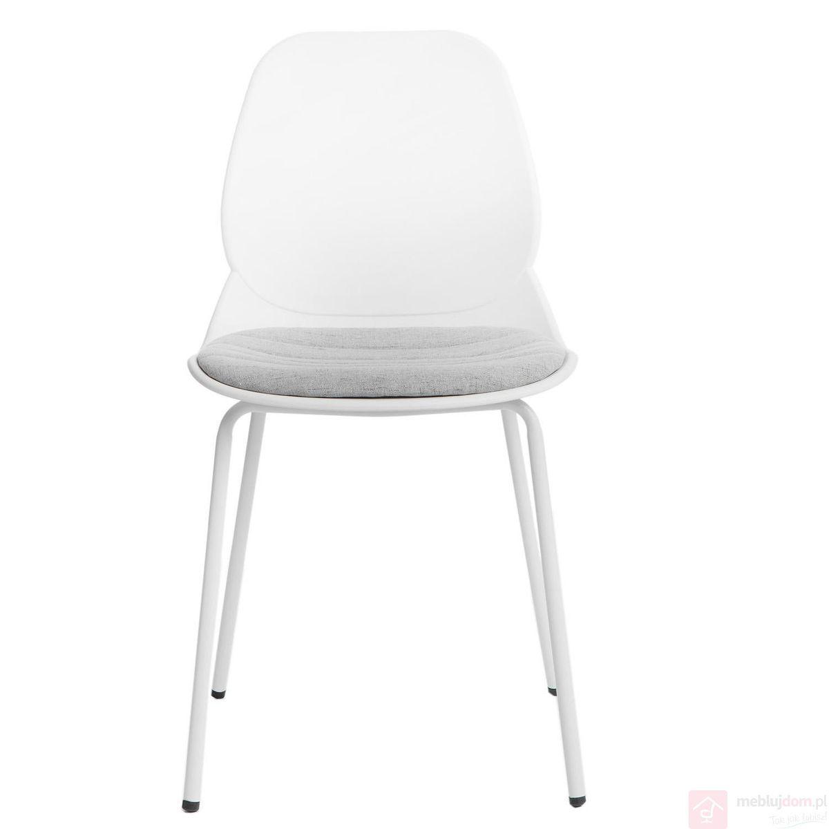 Krzesło LAYER TAP 4 biały przodem poduszka
