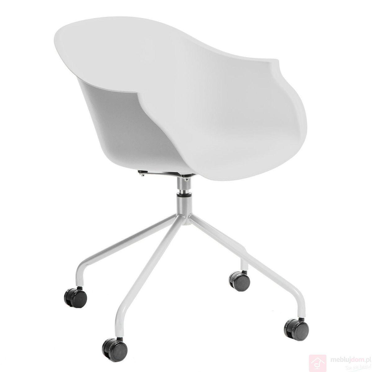 Krzesło ROUNDY na kółkach białe