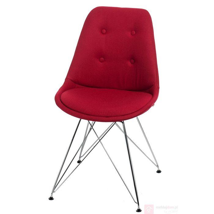 Krzesło NORDEN DSR pikowane czerwone front gąbka pp metal
