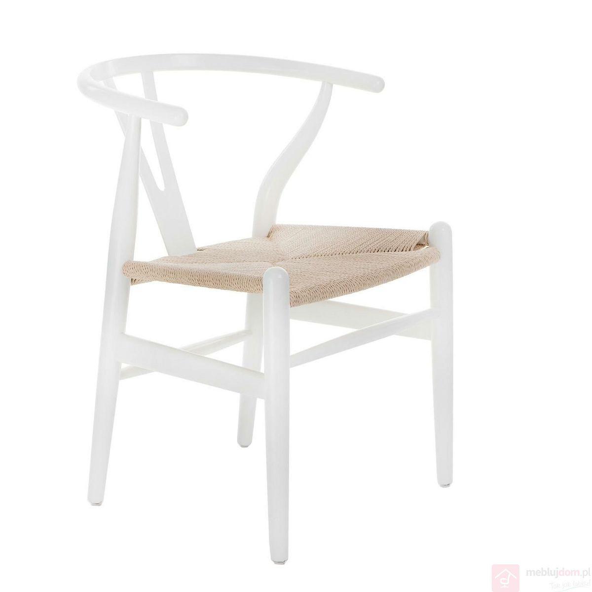 Krzesło WICKER NATURALNE białe drewniane