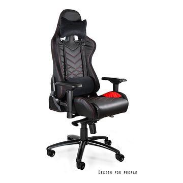 Fotel gamingowy DYNAMIQ V3 Unique ekoskóra czarna z czerwienią