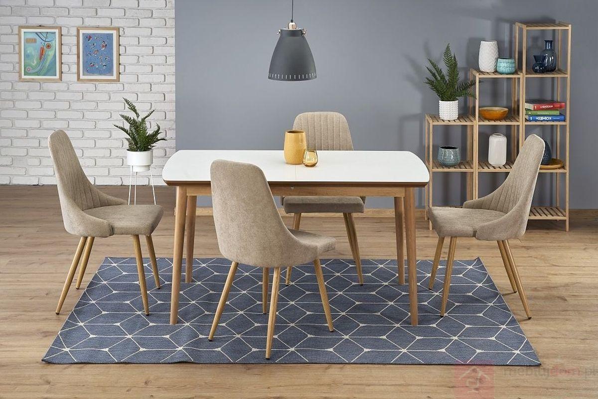 Stół rozkładany BRADLEY Halmar złożony w aranżacji z krzesłami K285