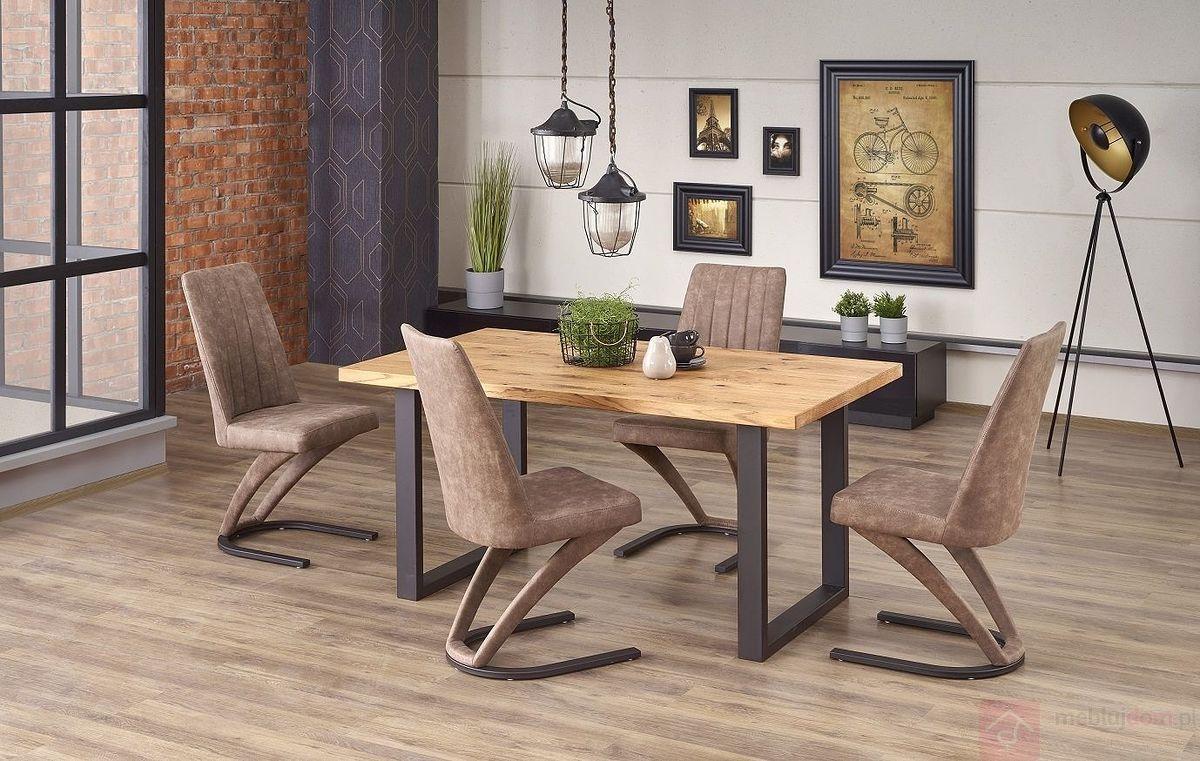 Stół rozkładany PEREZ Halmar złożony z krzesłami K338