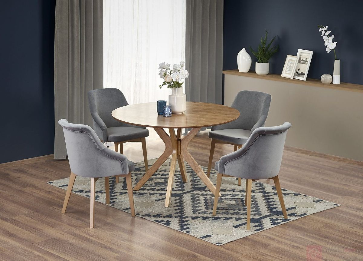Stół NICOLAS Halmar aranżacja z krzesłami TOLEDO 2