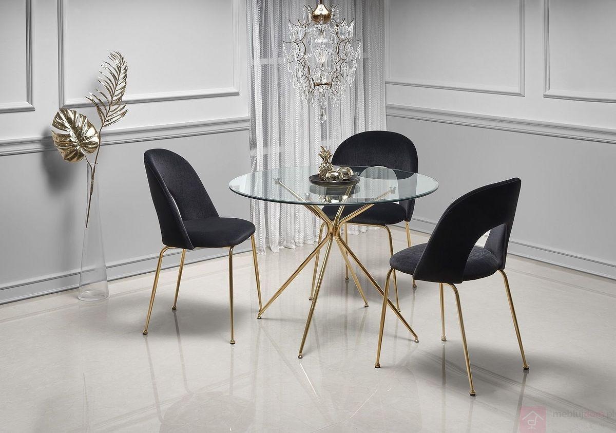 Stół RONDO Halmar w aranżacji z krzesłami K385