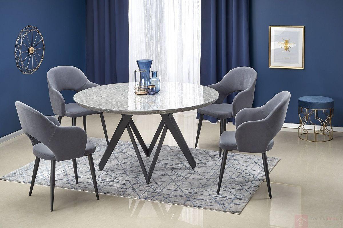 Krzesło K-364 Halmar popielaty ze stołem