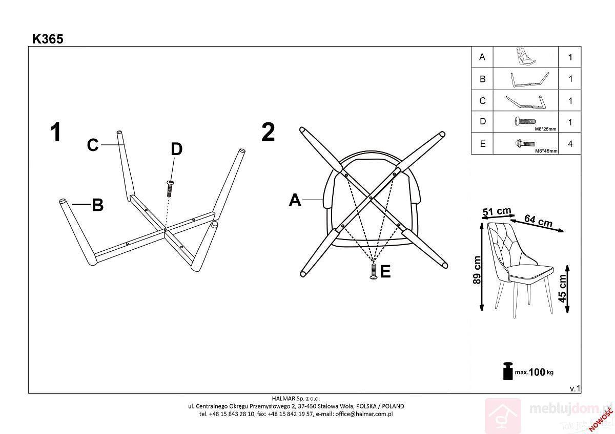 Krzesło K-365 Halmar instrukcja