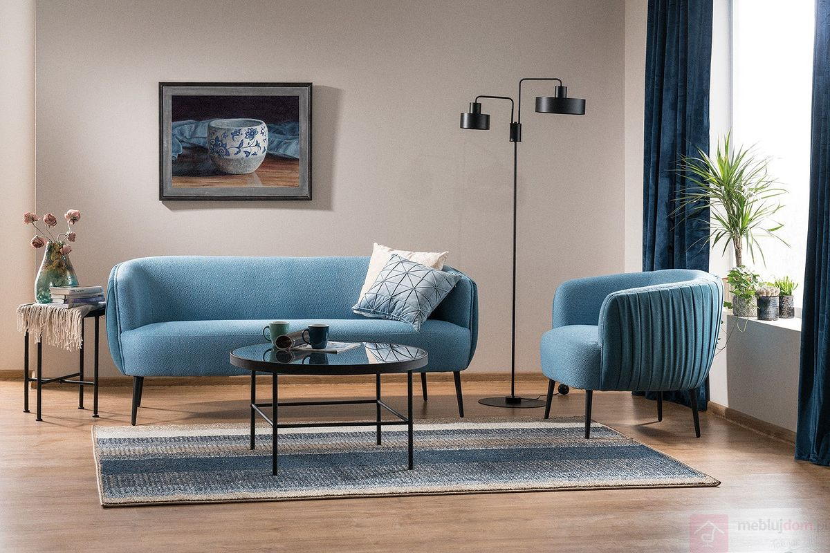 Fotel LENOX 1 + LENOX 3 Signal niebieski tap.164-165 aranżacja