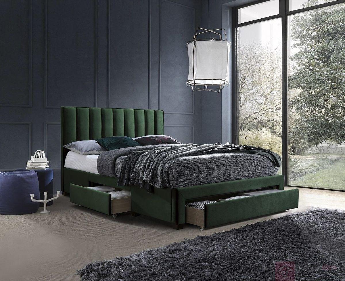 Łóżko GRACE 160 Halmar ciemno - zielony