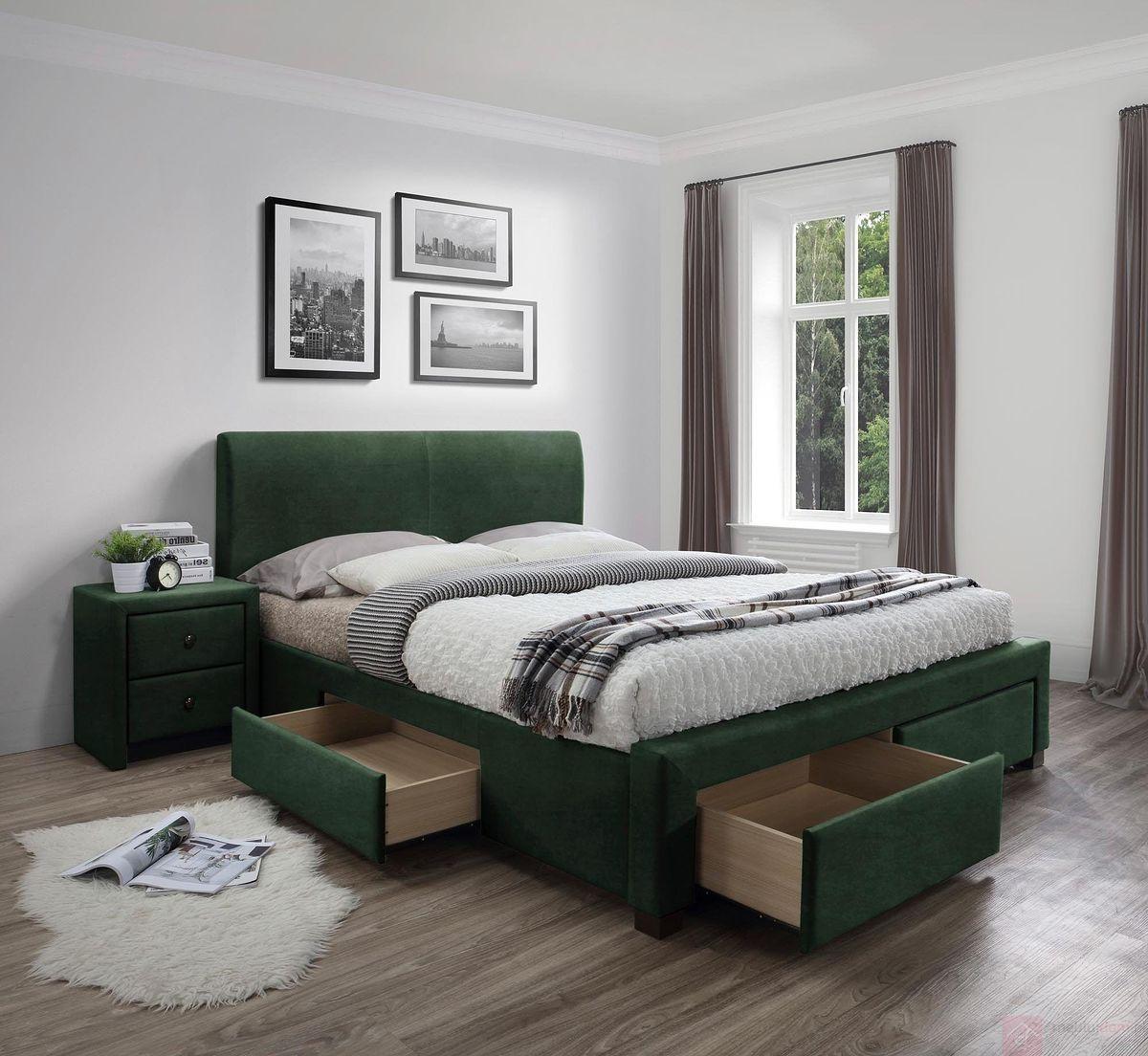 Łóżko MODENA 3 160 Halmar ciemno zielony