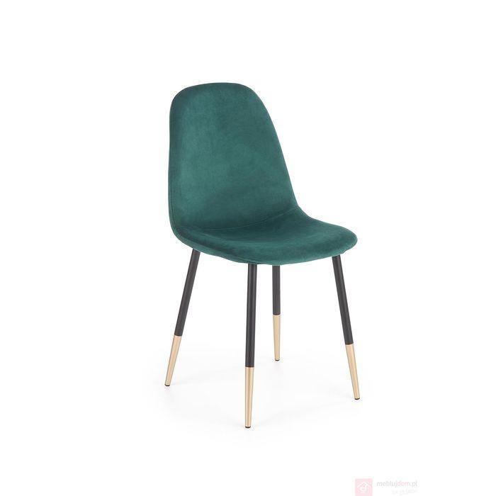 Krzesło welurowe K-379 Halmar ciemno zielony