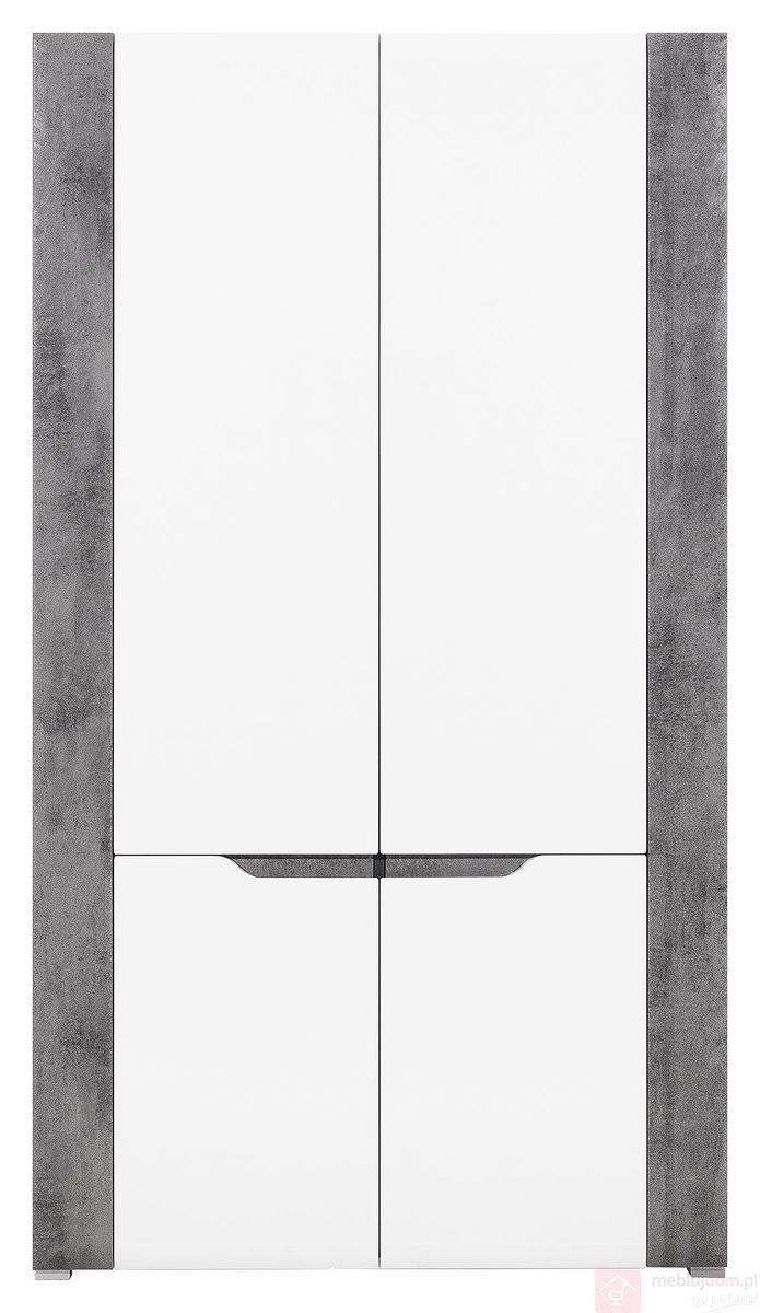 Szafa dwudrzwiowa BRANDO B7 Biały połysk + Beton